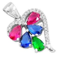 4.71cts red ruby (lab) emerald (lab) topaz 925 sterling silver pendant c3523