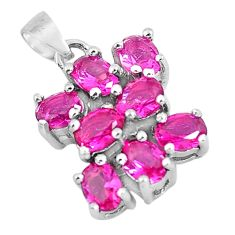 4.05cts red ruby (lab) pear shape 925 sterling silver pendant jewelry c3511