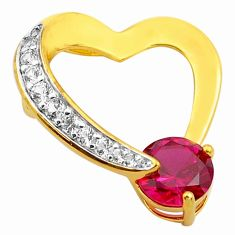 2.96cts red ruby (lab) topaz 925 sterling silver 14k gold heart pendant c4421
