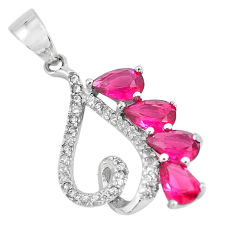 3.65cts red ruby (lab) white topaz 925 sterling silver pendant jewelry c3530