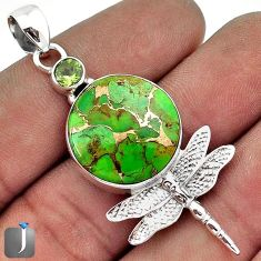 SASSY GREEN COPPER TURQUOISE PERIDOT 925 SILVER DRAGONFLY PENDANT JEWELRY G27832