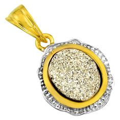 3.58cts silver druzy 925 sterling silver 14k gold pendant jewelry c5496