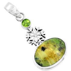 Silver 13.77cts natural swiss imperial opal peridot snowflake pendant p55100