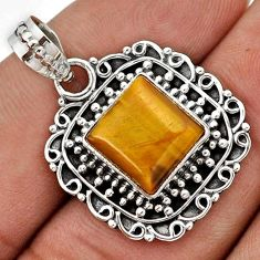 SLEEK NATURAL BROWN TIGERS EYE SQUARE 925 STERLING SILVER PENDANT JEWELRY G83945