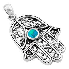 5.48gms southwestern fine blue turquoise silver hand of god hamsa pendant c4852