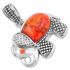 5.54cts southwestern red copper turquoise 925 sterling silver pendant c4785
