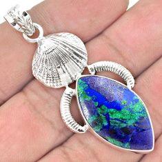 SPARKLING BLUE AZURITE MALACHITE CHRYSOCOLLA 925 SILVER SEA SHELL PENDANT G92805