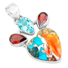 14.72cts spiny oyster arizona turquoise 925 silver heart shape pendant p65352