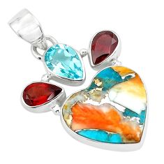 14.23cts spiny oyster arizona turquoise 925 silver heart shape pendant p65353