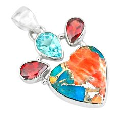 14.72cts spiny oyster arizona turquoise 925 silver heart shape pendant p65354