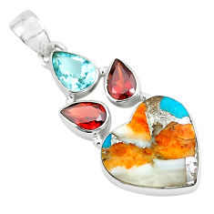 13.15cts spiny oyster arizona turquoise 925 silver heart shape pendant p65356