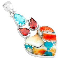 17.22cts spiny oyster arizona turquoise 925 silver heart shape pendant p65359