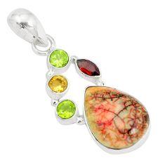 7.66cts sterling opal garnet 925 sterling silver pendant p35863