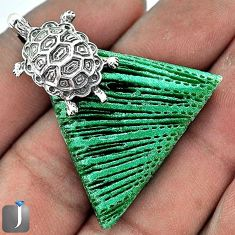 SUPERB GREEN CARDITA SHELL 925 STERLING SILVER TORTOISE PENDANT JEWELRY G23445