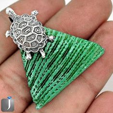 SUPERB GREEN CARDITA SHELL 925 STERLING SILVER TORTOISE PENDANT JEWELRY G23461