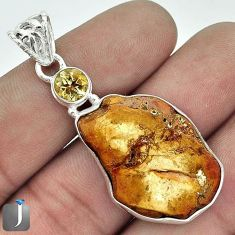 SUPERB NATURAL BROWN PETRIFIED WOOD FOSSIL CITRINE 925 SILVER PENDANT G14633
