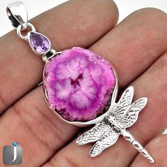 SUPERB PINK DRUZY AMETHYST 925 STERLING SILVER DRAGONFLY PENDANT JEWELRY G27831