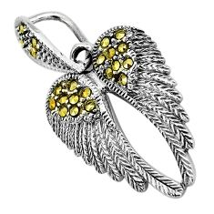 3.64gms swiss marcasite 925 sterling silver feather charm pendant jewelry c3107