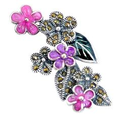 5.47gms swiss marcasite enamel 925 sterling silver flower pendant jewelry c3018