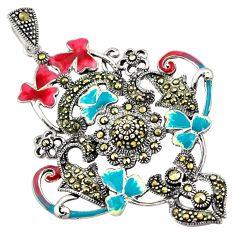 9.26gms swiss marcasite enamel 925 sterling silver pendant jewelry c4410