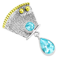 6.16cts victorian natural blue topaz 925 sterling silver two tone pendant p37666