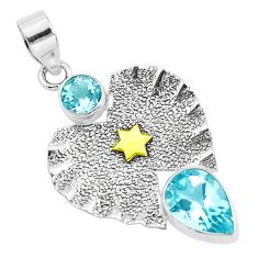 5.28cts victorian natural blue topaz 925 sterling silver two tone pendant p37687