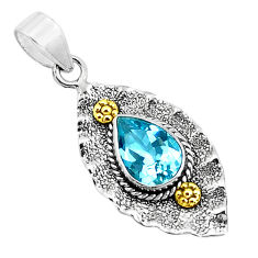4.69cts victorian natural blue topaz 925 sterling silver two tone pendant p37705