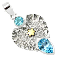 5.53cts victorian natural blue topaz 925 sterling silver two tone pendant p58762
