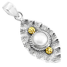 3.13cts victorian natural white pearl round 925 silver two tone pendant p37713
