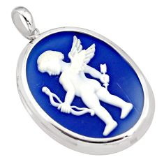 19.72cts white baby wing cameo 925 sterling silver pendant jewelry c5613