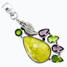 YELLOW LIZARDITE (MEDITATION STONE) PERIDOT SILVER SHEEP CHARM PENDANT H22995