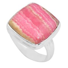 \natural pink rhodochrosite inca rose 925 silver solitaire ring size 8.5 p80669