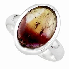 6.31cts natural purple cacoxenite rings, brazil 925 silver ring size 8 p76174