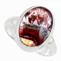 6.36cts natural purple cacoxenite rings, brazil 925 silver ring size 7 p76175
