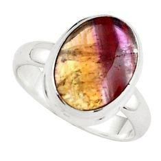 6.56cts natural purple cacoxenite rings, brazil 925 silver ring size 8.5 p76158