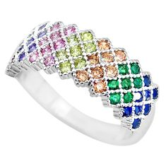 925 silver 1.81cts amethyst emerald (lab) infinity band ring size 6.5 c3334