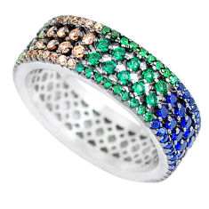 925 silver 2.02cts amethyst emerald (lab) infinity band ring size 6.5 c3337