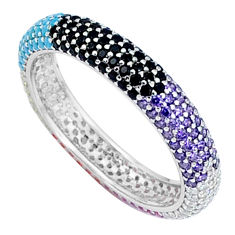 925 silver 1.59cts amethyst quartz turquoise infinity band ring size 7 c3324