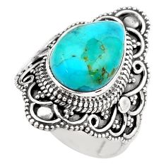 925 silver 5.27cts blue arizona mohave turquoise solitaire ring size 6 p86876