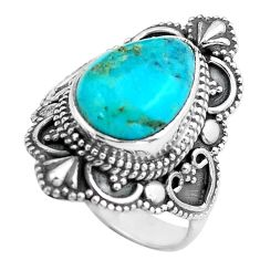925 silver 4.92cts blue arizona mohave turquoise solitaire ring size 6 p86939