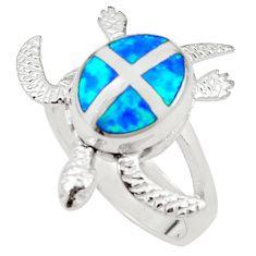 925 silver blue australian opal (lab) tortoise ring jewelry size 7.5 a73500
