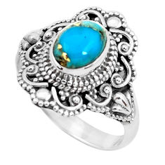 925 silver 2.14cts blue copper turquoise solitaire ring jewelry size 7.5 p52391