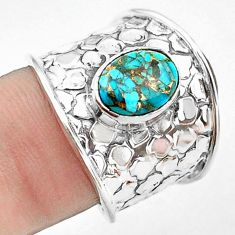 925 silver 3.29cts blue copper turquoise solitaire ring jewelry size 7.5 p74844
