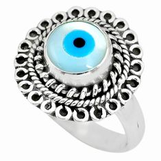 925 silver 3.21cts blue evil eye talismans solitaire ring jewelry size 7 p63244