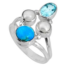 925 silver 5.52cts blue sleeping beauty turquoise topaz pearl ring size 8 p90671