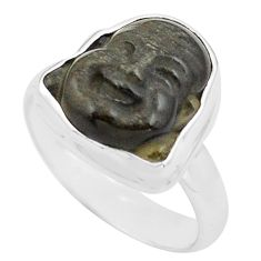 925 silver buddha carving sheen black obsidian solitaire ring size 7 p88165