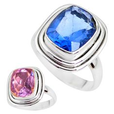 925 silver color change faceted natural fluorite solitaire ring size 6.5 p41690