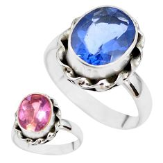 925 silver color change faceted natural fluorite solitaire ring size 8 p41700