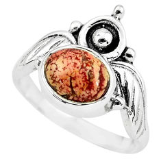 925 silver 2.98cts crown natural picture jasper solitaire ring size 7 p57805
