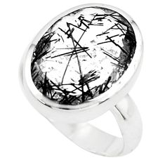 925 silver 9.65cts faceted black tourmaline rutile solitaire ring size 7 p76484
